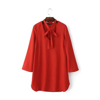 Summer Red Butterfly V-neck Casual Dress One Piece Dress [6033320513]