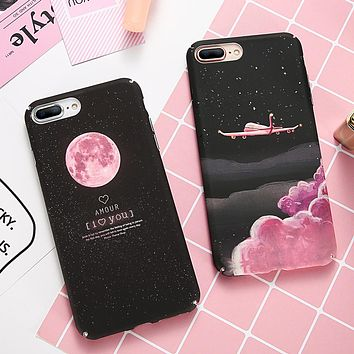 DOEES Phone Case For iPhone 6 6S 7 8 Plus X Case Cute Black Pink Hard Slim Moon Flamingo Star Cover For iPhone 5 5S SE 10 Case