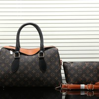 Tagre™ Louis Vuitton Women Fashion Leather Handbag Bag Crossbody Cosmetic Bag Two Piece Set