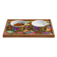 Aimee St Hill Patchwork Paisley Orange Pet Bowl and Tray