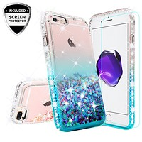 Apple iPhone 8 Case Liquid Glitter Phone Case Waterfall Floating Quicksand Bling Sparkle Cute Protective Girls Women Cover for iPhone 8 - Teal