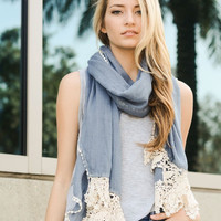 Chambray Floral Lace Scarf