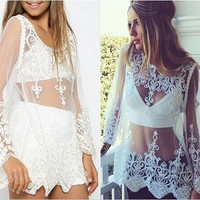Feelingirl Fashion Summer Casual Chiffon Blouse Embroidery Plus Size Clothing Translucency Long Sleeve Lace Women's Tops = 1696888388