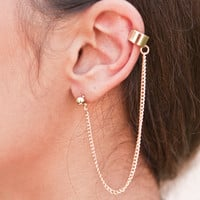 Simple Gold Ear Cuff Chain