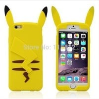 "Hot New Cartoon Cute 3D Pocket Monsters Pikachu Pokemon Funny Silicone Cover Case For iphone 6 plus "" 5.5 inch SJK754 [8098017671]"