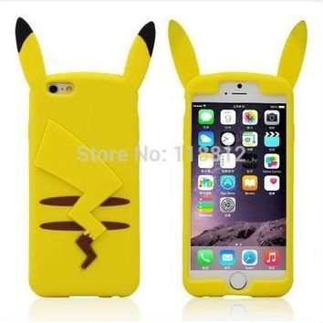 """Hot New Cartoon Cute 3D Pocket Monsters Pikachu Pokemon Funny Silicone Cover Case For iphone 6 plus """" 5.5 inch SJK754 [8098017671]"""
