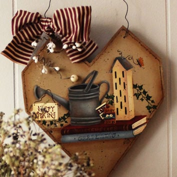 Winter + Spring Rustic Heart Sign | Reversible Wood Primitive Art | Country Snowman + Birdhouse