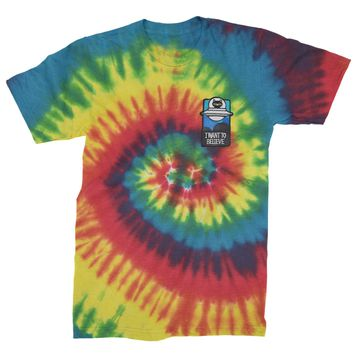 Embroidered I Want To Believe Alien Patch (Pocket Print) Mens Tie-Dye T-shirt