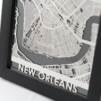 Stainless Steel New Orleans Louisiana Cut Map