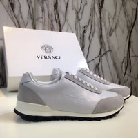 Versace Men's Suede Leather Fashion Low Top Sneakers Shoes