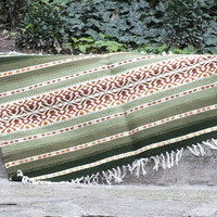 Handwoven wool rug, floor mat, green rug with brown ornaments, decorative rug, decorative floor mat, home decor rug, carpet rug