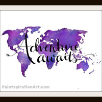 Adventure Quote Purple Art Print World Map Wall Decor - Inspirational Wall Quotes Travel Print - Map Art World Wall Art Sayings World Map