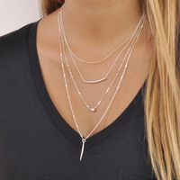 Delicate set of 4 Silver Necklaces; Layered Sterling Silver Necklace Set; Satellite, Bead, Tube, Spike Necklaces; Set Of 4 Silver Necklaces