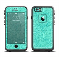 The Teal Leaf Laced Pattern Apple iPhone 6 LifeProof Fre Case Skin Set