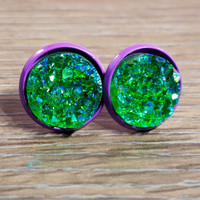 Druzy earrings- Deep green drusy - Purple stud druzy earrings