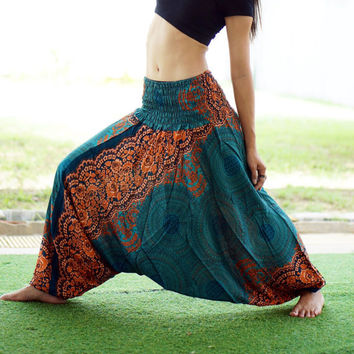 Geometric Mandalas Thai Harem Pants,Rayon Pants,Boho Strenchy Pants,Elastic Waist Clothing Beach Women Baggy Casual Turquoise color T05019