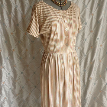 ON SALE 40s Dress // 40s Day Dress //Vintage 1940s Tan and Cream Striped Day Dress Size L