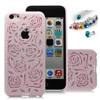 Cocoz® New Releases Romantic Pink Rose Carved Palace Roses Fashion Design Hard Case Cover Skin Protector for Iphone 5c At&t Sprint Verizon Retail Packing(pc) -H003