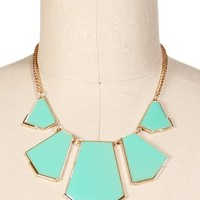 Gold/Mint Geometric Epoxy Bib Necklace