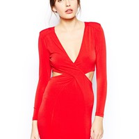 AX Paris Twist Front Cut-Out Dress with Long Sleeves