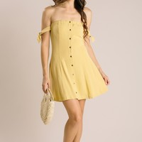 Mallory Yellow Strapless Bow Tie Dress