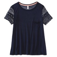 Xhilaration® Junior's Lace Sleeve Tee - Assorted Colors
