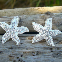 Starfish Earrings-SILVER SPARKLE-Beach Weddings, Mermaids, Starfish Weddings, Summer Vacation, Prom, Starfish Jewelry, Nautical Earrings