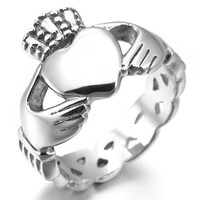 Women,Men's Stainless Steel Ring Silver Irish Celtic Knot Irish Claddagh Friendship Love Heart Royal King Crown Polished Size6
