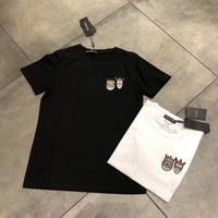 dolce gabbana women simple casual crown prince princess embroidery short sleeve t shirt top tee