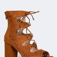 CUTOUT LACE UP SANDAL
