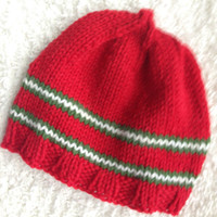 Red Wool Handknit Hat, Christmas/Holiday, Warm Knit Chemo Cap, OOAK