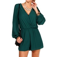 Hunter Green Long Sleeve Romper
