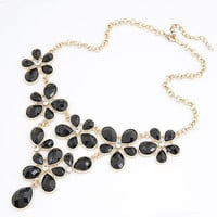 Black Floral Drop Crystal Statement Necklace