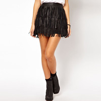 Lady Faux Leather Fringe Cover High Waist A-Line Mini Skirt S-XXL