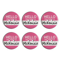 McKenzie Hello My Name Is Plastic Resin Button Set of 6