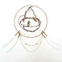 Dreamcatcher // Song of the Sea. Seashells & Feathers. Very Large One of a Kind Art.