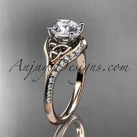 "14kt rose gold diamond celtic trinity knot wedding ring, engagement ring with a ""Forever One"" Moissanite center stone CT7125"
