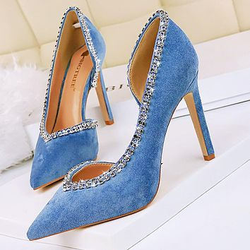 Sexy side hollow high heels stiletto suede shallow pointy side hollow rhinestone single shoes blue