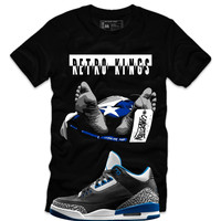 Retro Kings Clothing Competition Sport Blue 3's Black Tee