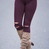 Star Of the Season Distressed KanCan Jegging (Burgundy)
