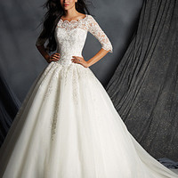 Alfred Angelo 2491 3/4 Sleeve Lace Ball Gown Wedding Dress
