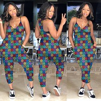GG Women's Double GY306 Colorful Digital Print Jumpsuit