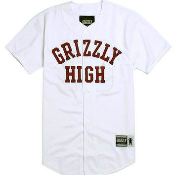 Grizzly GHS Baseball Jersey - Mens Tee - White