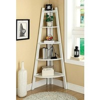 Lyss 5-Tier Corner Ladder Bookcase Shelf in White Finish