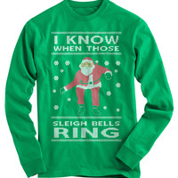 Sleigh Bells Ring Ugly Christmas Sweater - On Sale