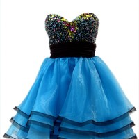 Azaria Style 5178 Blue Homecoming Dress
