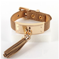 Fashion ID Gold Plated Faux Leather Tassels Bracelet Bangle with Buckle