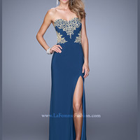 Sweetheart Embroidered Floor Length With Slit La Femme Prom Dress 21073