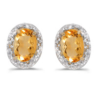 14K Yellow Gold Oval Citrine and Diamond Earrings (7/8ct tgw)