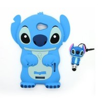 Euclid+ - Blue Stitch & Lilo Style Silicone Soft Case Cover for HTC One X S728e with Stitch Style Anti Dust Pen